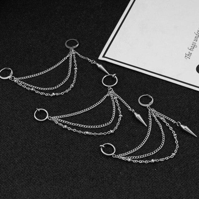 BTS V Stainless Steel Rock Tassel Chain Stud Earring Ear Clip  2
