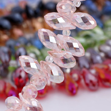 OlingArt Water droplets 6*12MM Austria Crystal Glass Beads charm Pink AB colour Loose Spacer Bead for DIY Jewelry Making