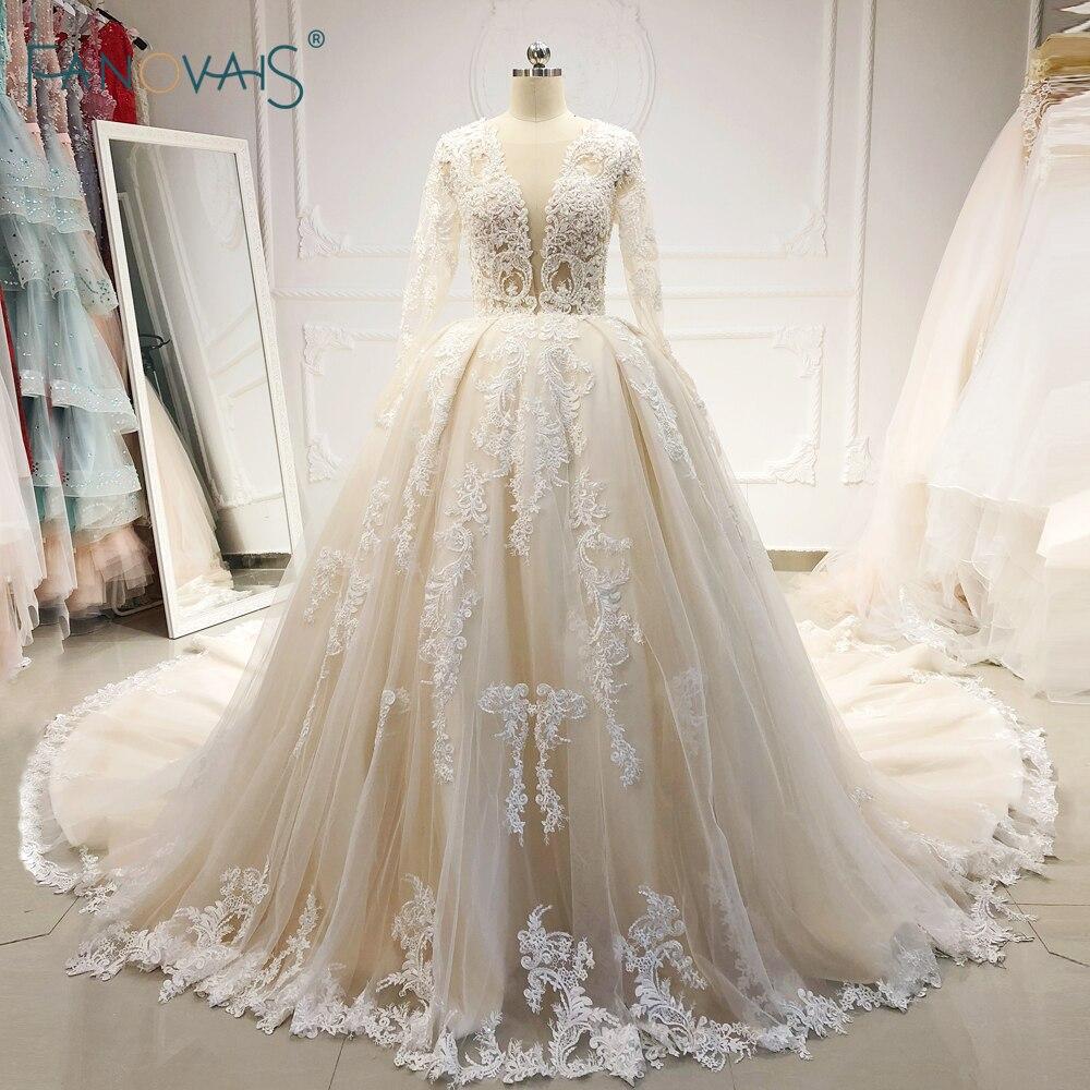 Élégant 2019 robes de mariée manches longues col en V princesse robe de bal robe de mariée Champagne perlé dentelle Vestido de Novia NW50
