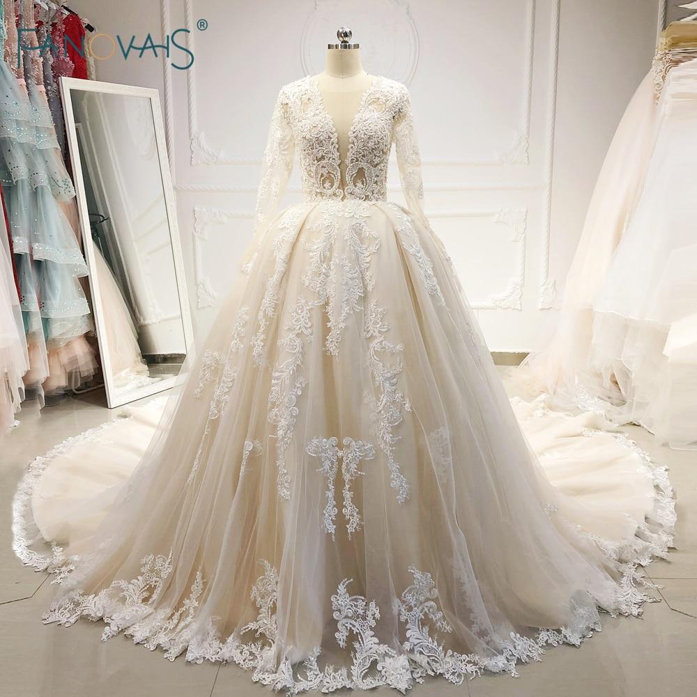 2477598ec1e4342 Элегантный 2019 Свадебные платья одежда с длинным рукавом с v-образным  вырезом приталенное бальное платье, свадебное платье, расшитый бисером.
