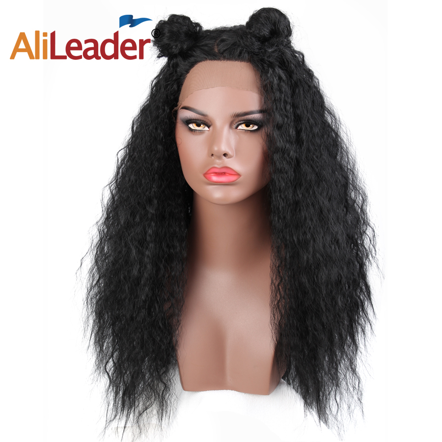 Alileader Yaki Straight Wig Heat Resistant Long Kinky Straight Lace Front Synthetic Wigs For Black Women Loose Wave Wig