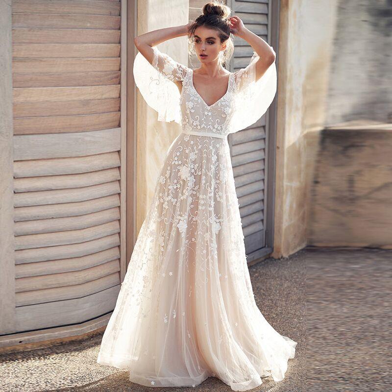 Robe De mariage 2019 Tulle Appliques V-cou Dos Nu Avec Cap Manches En Dentelle Romantique Robes De Mariée Robe De Mariée