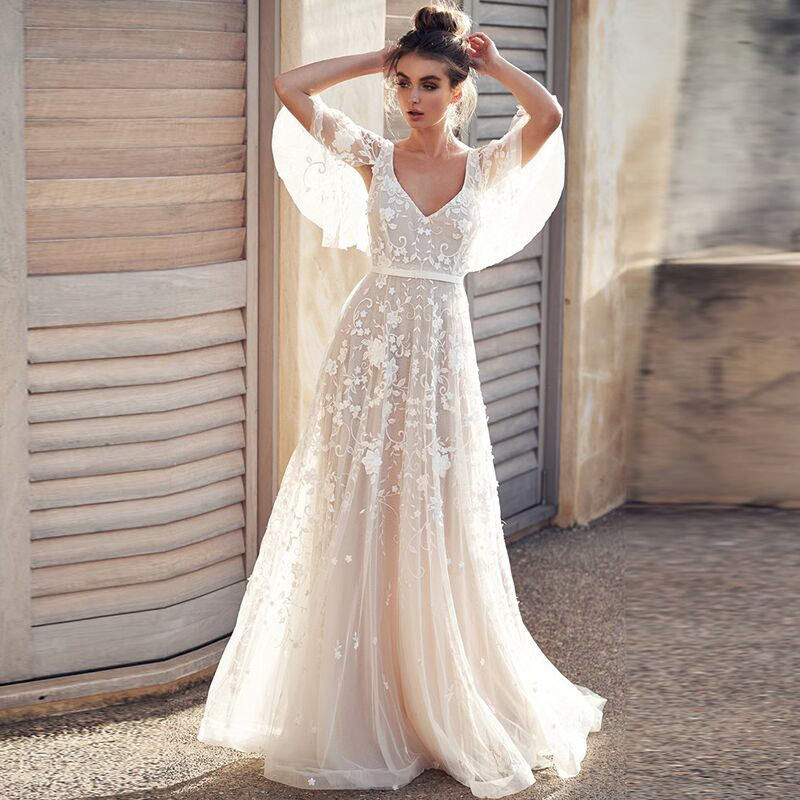 Wedding Gowns 2019 With Sleeves: Wedding Dress 2019 Tulle Appliques V Neck Backless With