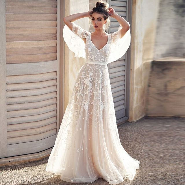 be446f3fda US $99.0 35% OFF|Wedding Dress 2019 Tulle Appliques V Neck Backless With  Cap Sleeves Lace Romantic Bridal Gowns Vestido De Novia-in Wedding Dresses  ...