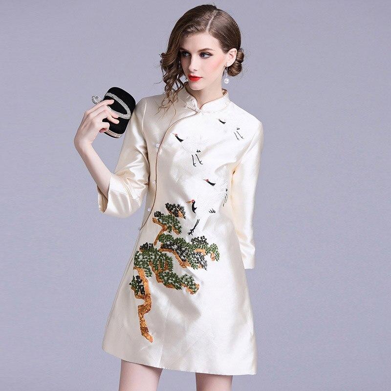 2019 Мода Свежий весна, лето и осень женская одежда мода Чонсам с вышивкой один воротник до груди женское платье