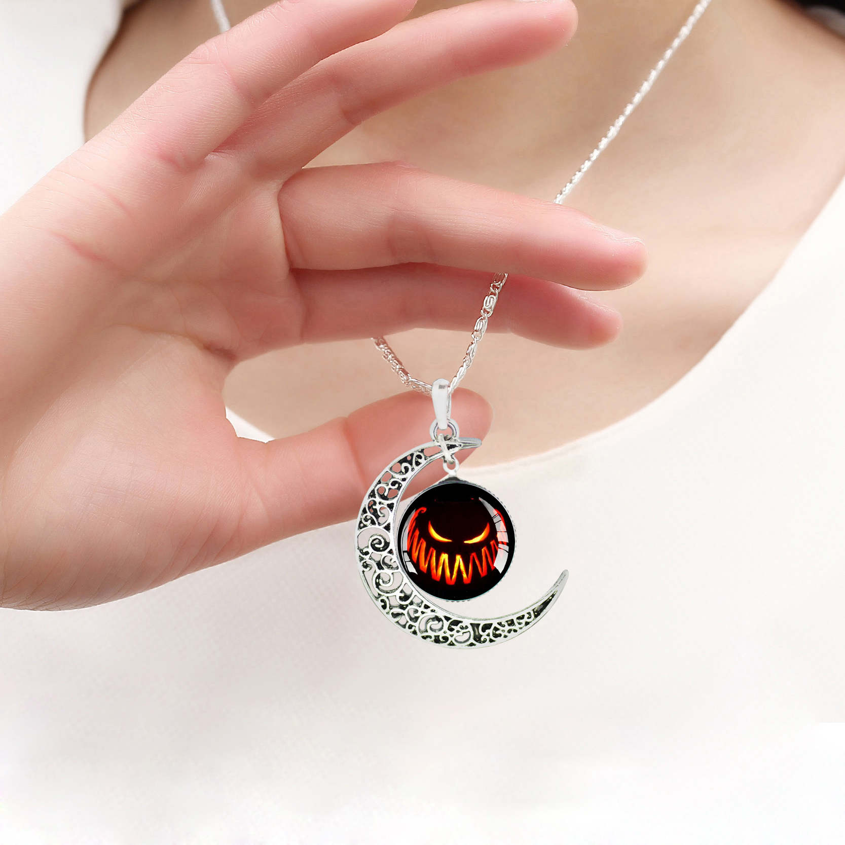 crazy fly vintage halloween jewelry creative pumpkin glass cabochon pendants necklace statement silver chain for women in pendant necklaces from jewelry