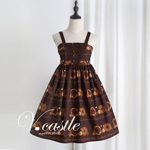 Cute Women's Party Dresses Doughnut Biscuit Print Princess Sweet Lolita JSK Dress Sleeveless Elastic Strap Suspender Bows Dress