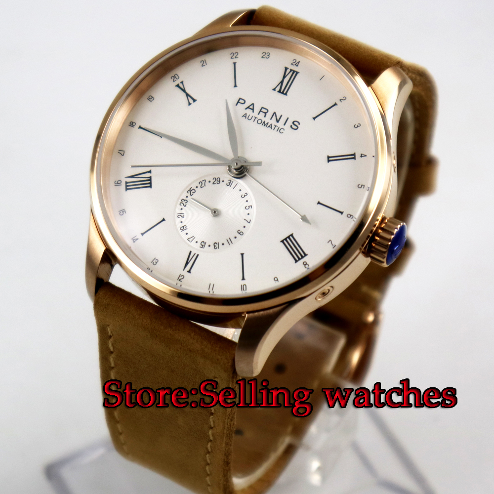 42mm Parnis white dial rose golden case 24 hours date ST 1690 mens Watch цена и фото