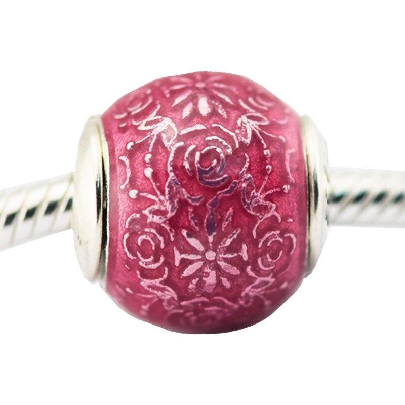 Fit Pandora Bracelet Freedom Transparent Cerise Enamel charm original 925 Sterling Silver Jewelry Beads Jewelry