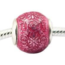 Подходят Pandora браслет свободу прозрачный cerise Эмаль Шарм оригинальный стерлингового серебра 925 бусины ювелирных изделий DIY