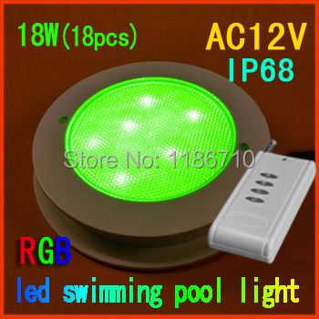 Factory direct sale 18W RGB embedded led swimming pool light 18*(1W)pcs underwater pool light With the remote control