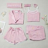 Spring Summer Women Causal Comfortable Pajama Seven Sets Top Camisole Pants Shorts Hair Band Hair Ring