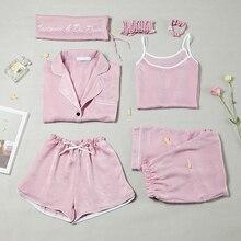 Spring & Summer Women Causal Comfortable Pajama Seven Sets Top+camisole+pants+shorts+hair Band+hair Ring+bag Female Sleepwear