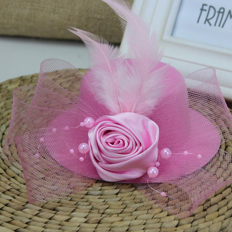 Vintage Woman Wedding Bridal Hat Handmade Flowers With Pearls Feather Bridal Party Hair Accessories