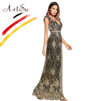 ArtSu Retro Women Party Dress Sexy Backless V Neck Maxi Summer Dress Women Sleeveless Gold Glitter