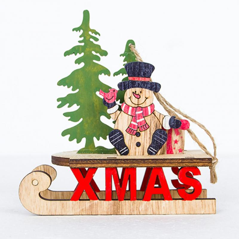 1pc hanging wood cartoon santa sleigh decorations home gift cute christmas tree pendant in pendant drop ornaments from home garden on aliexpresscom