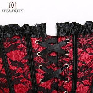Image 5 - Корсет Miss Moly в стиле стимпанк, готическое бюстье, с открытыми косточками, кружевное платье, размер 6XL