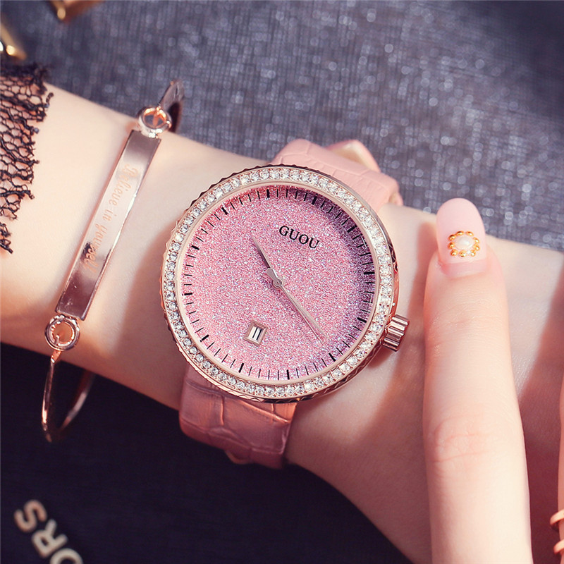 GUOU Simple Ladies Watch Top Brand Luxury Rhinestone Quartz Wrist Watches for Women Fashion Dress Female Clock bayan saat Pink weiqin luxury gold wrist watch for women rhinestone crystal fashion ladies analog quartz watch reloj mujer clock female relogios