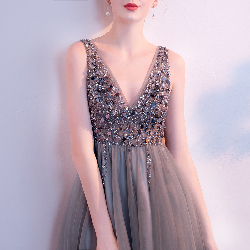 732b199695 New Grey V neck Backless Crystal Beading Mini Vestidos De Festa Luxury  Sequins A line Short Cocktail Dresses Prom Party Gowns-in Cocktail Dresses  from ...