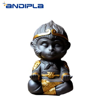 Boutique Purple Clay Yixing Tea Pet Golden Monkey King Qi Tian Da Sheng Figurines Handmade Ceramic Home Decor Tabletop Ornament