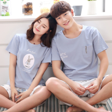 2018 Brief Cartoon Rabbit 100% Cotton Lovers Sleep Set Casual Short-sleeve Lounge Pamajas