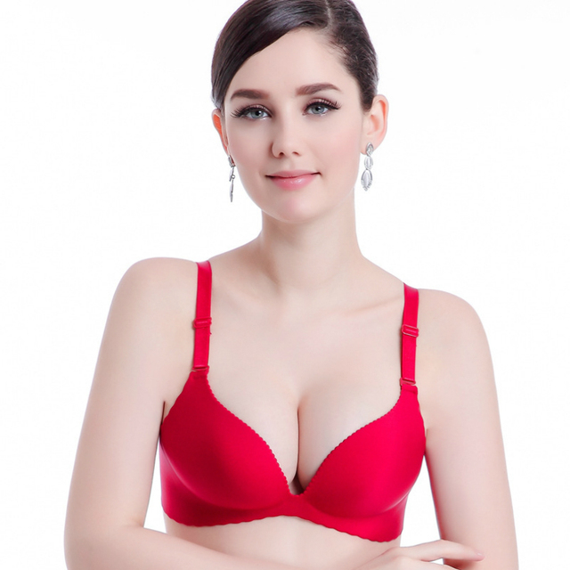 6fc9bb3e3a1 Women Push Up Bra B Cup Sexy Double Push Up Bra Plus Size Girls Gather  Strapless