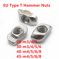T-nut M3 M4 M5 M6 M8 Hammer Head T Nut Fasten Slot Nut Connector Nickel plated for 20 30 40 45 EU Aluminum Extrusion Profile