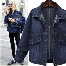 Vintage plus size denim jackets winter womens in women's parkas turn-down collar full sleeves pockets jackets coats woman winter