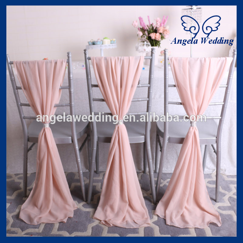 SH004B cheap elegant fancy beach wedding light pink blush pink chiffon chair sash girl