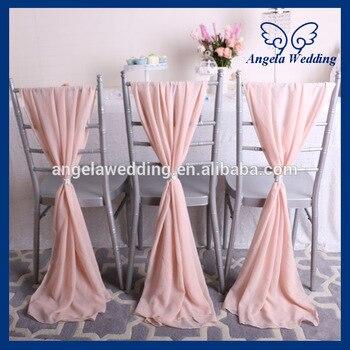 SH004B cheap elegant fancy beach wedding light pink blush pink chiffon chair sash tights