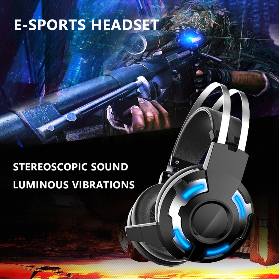Headphone for Computer PC Games LED Shock Gaming Headset for xbox one ps4 Computer Earphones with Microphone Luminous Earphones huhd 7 1 surround sound stereo headset 2 4ghz optical wireless gaming headset headphone for ps4 3 xbox 360 one pc tv earphones