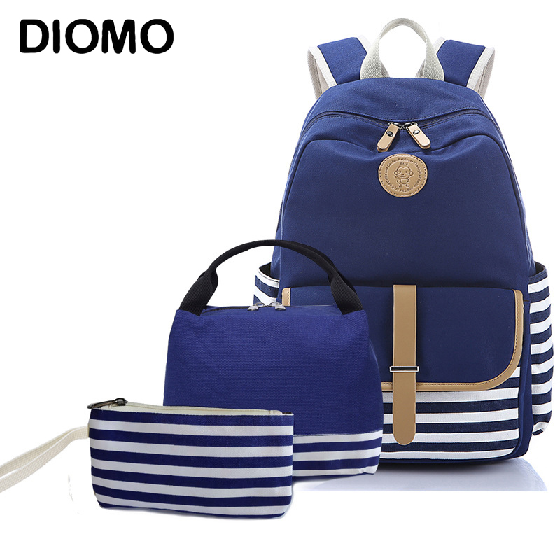 DIOMO New School Bag Set Stripes Canvas Backpack Schoolbags Stylish Students School Backpack For Teenage Girls High Quality