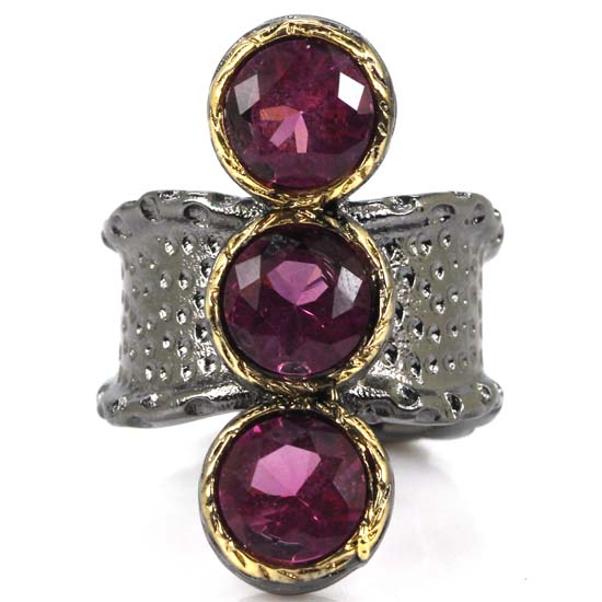7.5# Sublime Antique Vintage Pink Tourmaline Ladies Present Black Gold Silver Ring 32x21mm