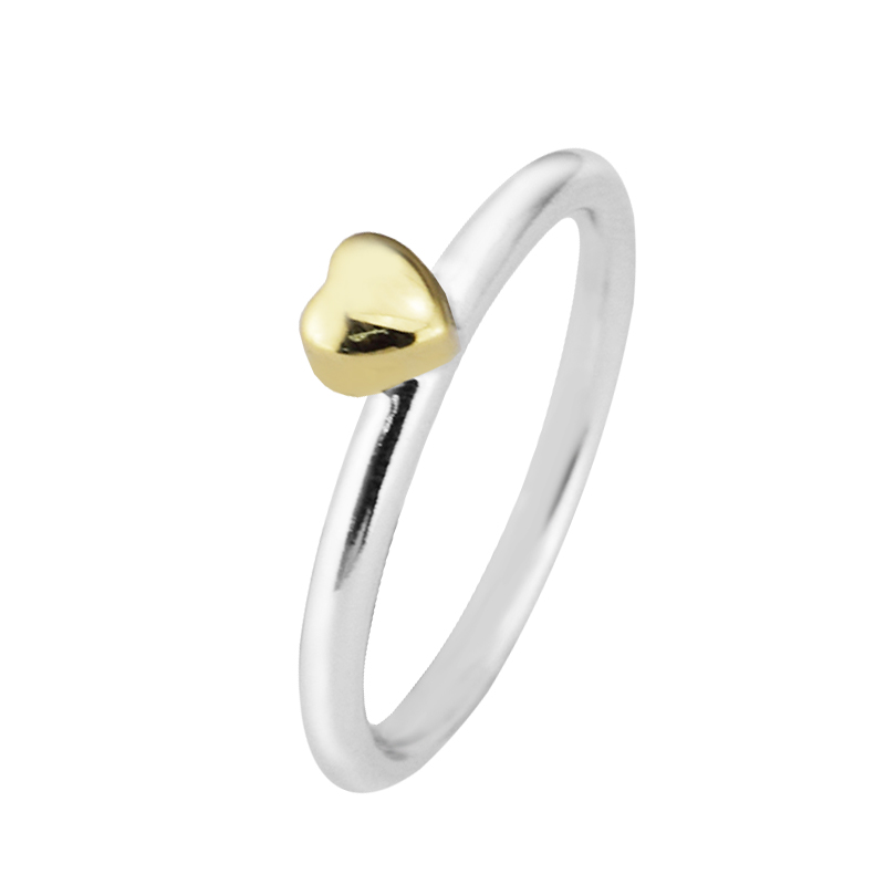 14K Real Gold Heart Ring 925 Sterling Silver Puzzle Rings for