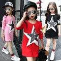 5-14 Años Niñas Vestido de Otoño Estrella Impreso Algodón Vestidos Tallas Grandes de Manga Larga Uniforme Escolar Adolescentes Vetement Fille traje