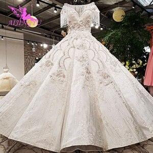 Image 5 - AIJINGYU 빈티지 Boho 웨딩 드레스 레이스 가운 정원 Frocks 2021 2020 독특한 복고풍 가운 공 웨딩 드레스 온라인 상점