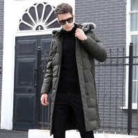 Men Down Jacket Winter White Duck Down Solid Over the knee Fur Collar Thick Warm Outdoors Coat