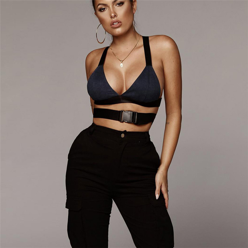 Sexy Women Denim   Tank     Top   lingerie Streetwear Sleeveless   Tops   Waist Belted Buckle Tie Bralette Crop   Tops   2018 Women Clothing