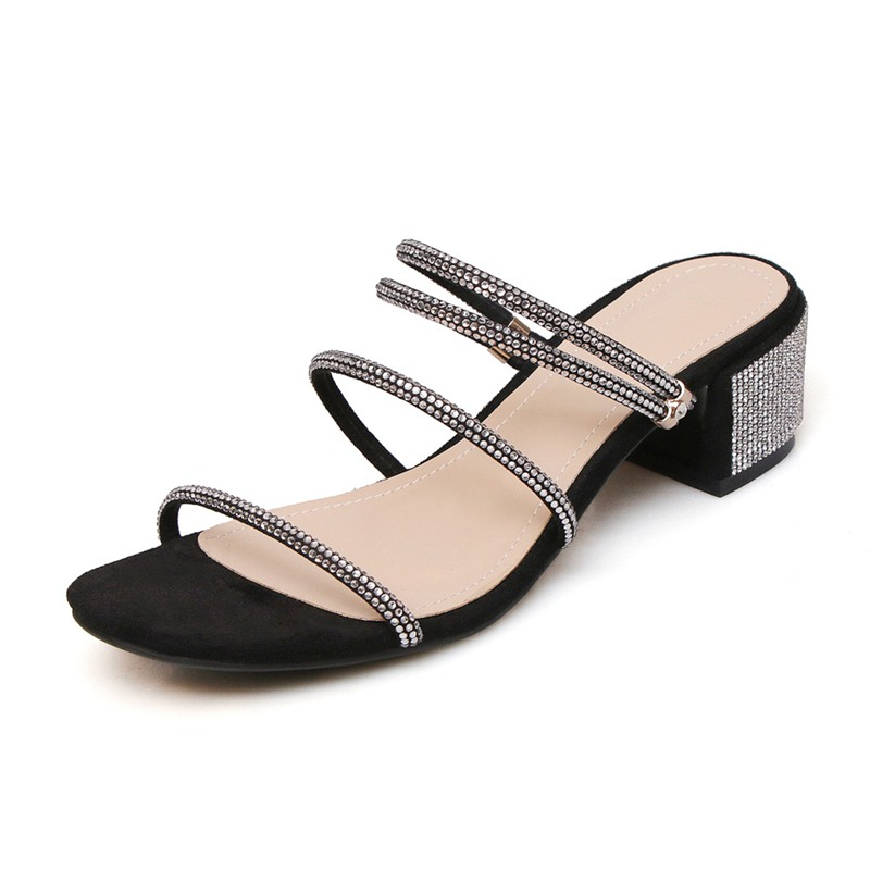 Girseaby Shoes women ladies Square heel Kid suede Slip on Crystal Rhinestone Black Nude Sandals Summer Sapato Feminino E153 - 2
