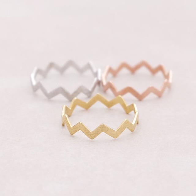 SMJEL Minimalist Matte Wave Rings ZIG ZAG Jewelry Ringen Midi Knuckle Thumb Ring