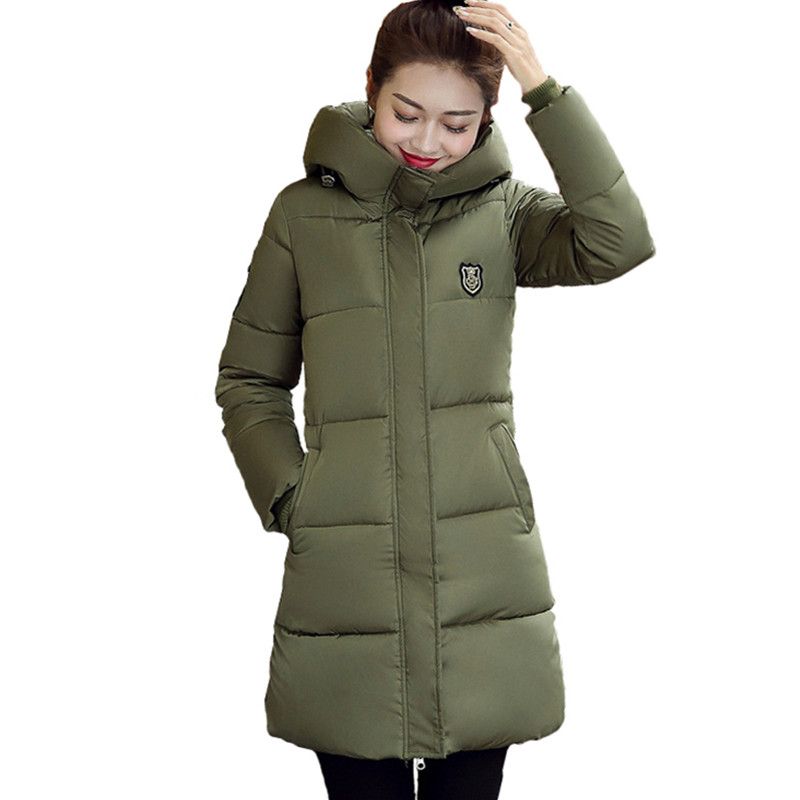 Winter   Jacket   Women Hooded Thick Down Parkas Coat Female Warm Winter Long Wadded   Basic     Jacket   Coat Tops chaqueta mujer