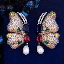GODKI חדש בציר פרפר עגילי יוקרה Boho בוהמי חיקוי פרל להתנדנד עגילי נשים חתונת תכשיטים 2018