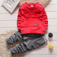 Spring Autumn Baby Boys Clothes 2PCS Sets Casual Tracksuit Big Pocket Full Sleeve Kids Sport Suits
