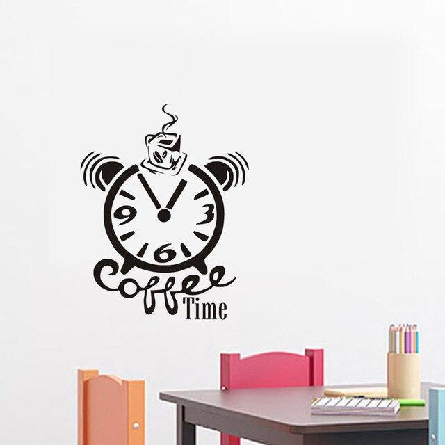Uhr und Kaffeetasse Lustige Wandaufkleber Zitat Kaffee Zeit Vinyl ...