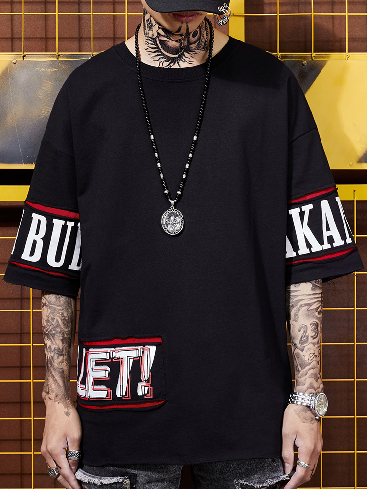 Hip hop summer trend personalized sticker BF men's street breeze behind creative printed loose half sleeved T-shirt 1