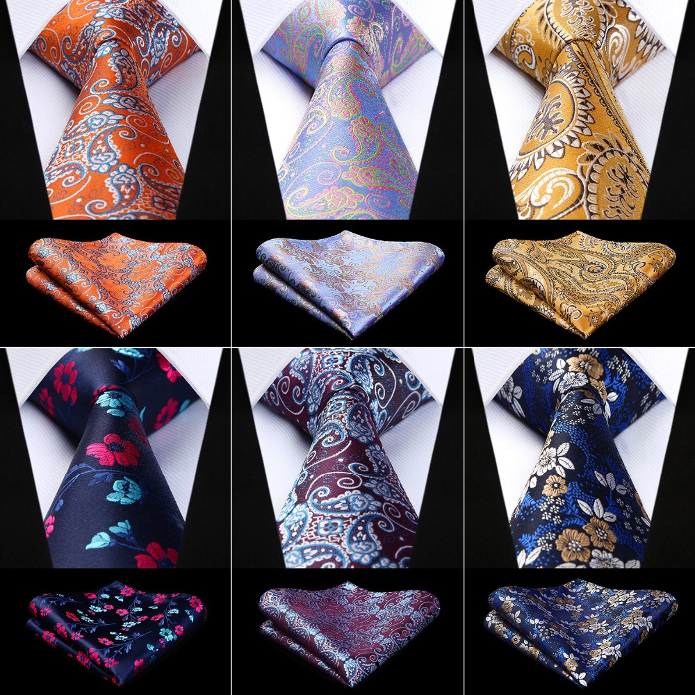 "Men Tie Necktie Pocket Square Classic Party Wedding Fashion Floral Paisley 3.4""Silk Woven Business Handkerchief Set"