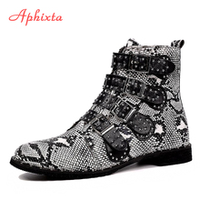 Aphixta 2019 Winter Rivets Ankle Boots For Women Zip Snake Black Leather Buckle Shoes Square High Heels Ladies