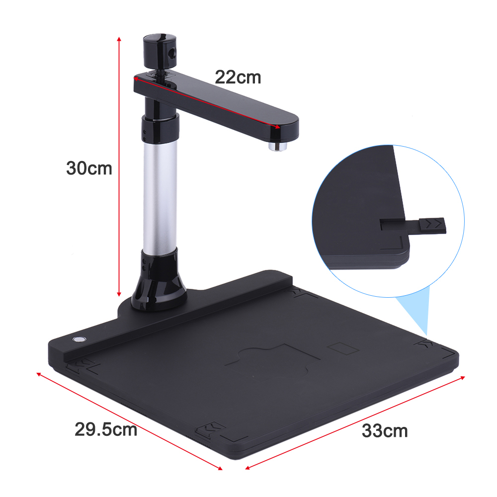 A3 Adjustable HD High Speed Book Image Document Camera Scanner Dual Lens LED Light Max.A3 Scan for Classroom Office Library Bank