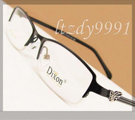 Black Metal meio aro prescrição óptica quadros de óculos óculos Womens RX espetáculo D9613 Eyewear
