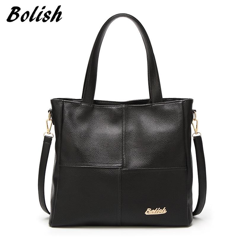 Bolish Soft PU Leather Women Tote Bag Fashion Patchwork Shoulder Bag Larger Size Women Crossbody Bag